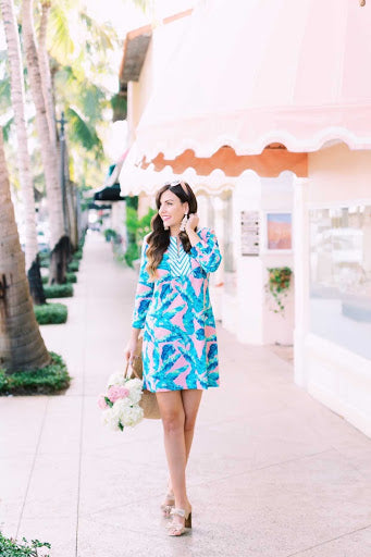 Jessica wearing the Preppy Palm Tunic Dress with UPF 50+ protection