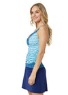 Woman wearing Aruba Blues UPF 50+ Tankini Top and Navy Classic Swim Skirt