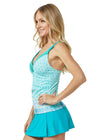 Woman wearing Coastal Cottage UPF 50+ Tankini Top and Turquoise Classic Swim Skirt