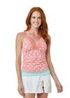 Woman wearing Coral Tides UPF 50+ Embroidered Tankini Top and White Side Tie Swim Skirt