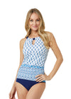 Woman wearing Seascape UPF 50+ Tankini Top and Navy High Waisted Bikini Bottom