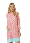 Woman wearing Coral Tides UPF 50+ Coral Cabana Shift Dress