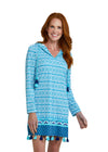 Woman wearing Aruba Blues UPF 50+ Hooded Cover Up