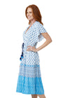 Woman wearing Seascape UPF 50+ Tie Waist Midi Dress
