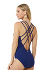 Woman wearing Cabana Life Navy Embroidered One Piece