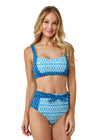 Woman wearing Aruba Blues Bikini Top and High Waisted Tie Bikini Bottom with UPF 50+ Sun Protection