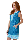 Woman wearing Aruba Blues UPF 50+ Sleeveless Tunic Dress