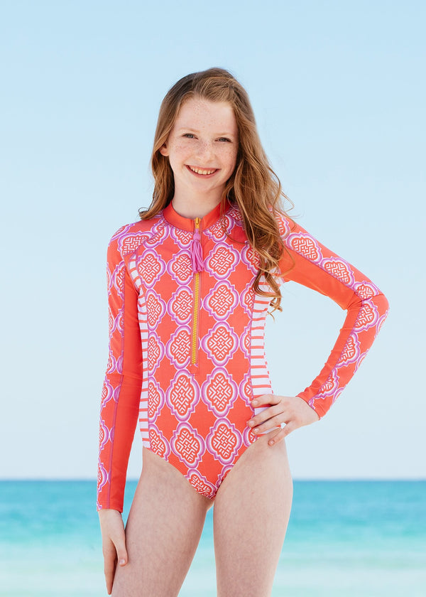 4T Girls Long Sleeve Zipper Rash Guard One Piece UPF 50 Sun Protection 6M