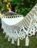 Victorian Style Hand Woven Wedding Hammock Hanging Lace Garden Bed 100% Cotton