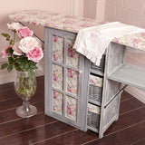Victorian Chintz & Dove Grey Laundry Room Ironing Board Storage Cart Station