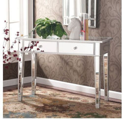 Mirrored Console Table Glam Vanity Mirror Sofa Accent Decor Furniture 2 Drawer