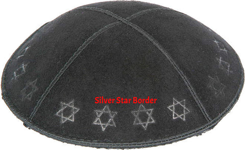 Black Star Border Embossed Kippah