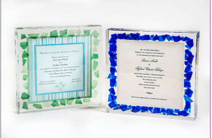 Lucite Wedding Glass Invitation - Israel's Judaica Simcha Store