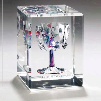 Rectangular Wedding Glass Lucite Cube - Israel's Judaica Simcha Store