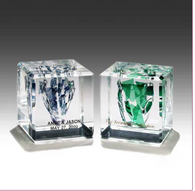 Square Wedding Glass Lucite Cube - Israel's Judaica Simcha Store