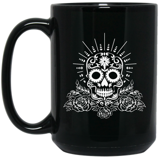 Sugar Skull With Roses In White 15 oz. Black Mug