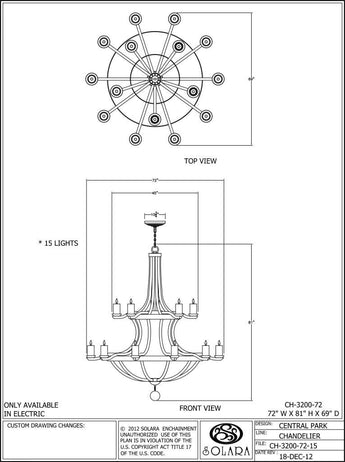 Central Park Chandelier - Chandeliers Series Ch Chandlier Lighting - Only Electric