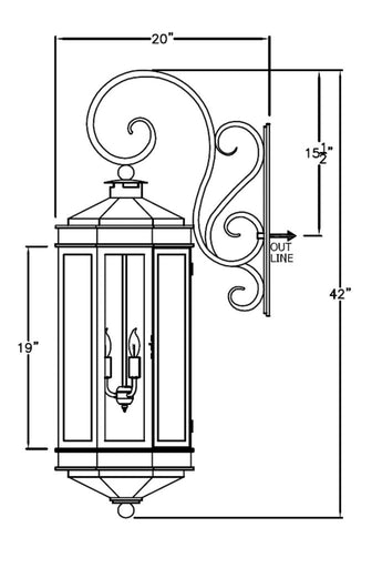 Century Iron Light - Hanging Bracket - Hanging-Bracket Wall Sconces Brass Lighting - Only Electric Outdoor Lighting