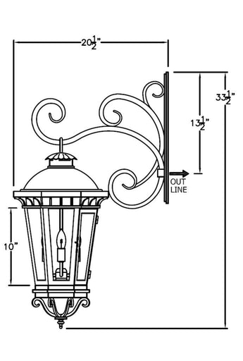 Constantino Iron Light - Hanging Bracket - Hanging-Bracket Wall Sconces Outdoor Lighting
