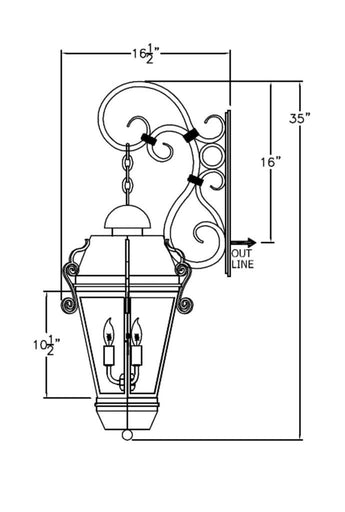 Vienna Iron Light - Hanging Bracket - Hanging-Bracket Wall Sconces Brass Lighting - Only Electric Outdoor Lighting
