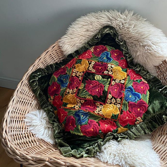 Re-worked Vintage Huipil Cushion with Velvet Frill