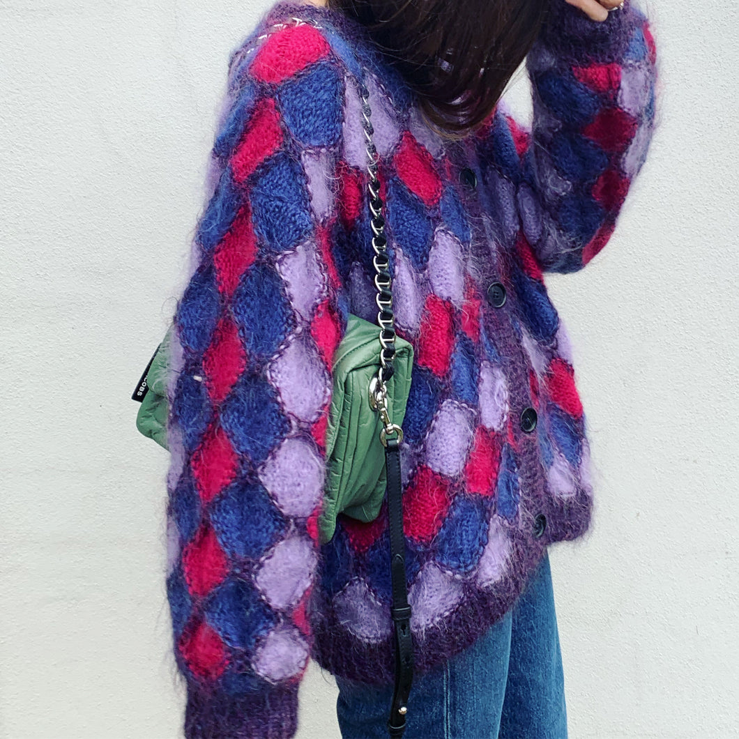 Purple Diamond Vintage Hand Knit Cardigan/Jacket