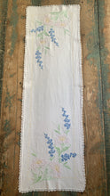 Vintage Linen Embroidered Floral Table Runner