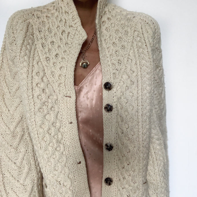 Vintage Aran Hand Knit Cardigan with Collar