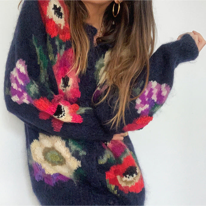 Vintage Floral Mohair Hand Knit
