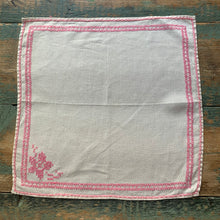 Pair of Vintage Pink Cross Stitch Napkins
