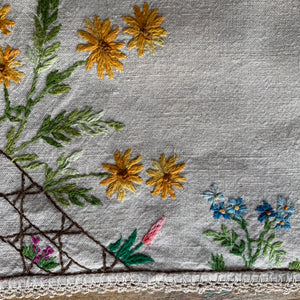Floral Vintage Linen Embroidered Tablecloth