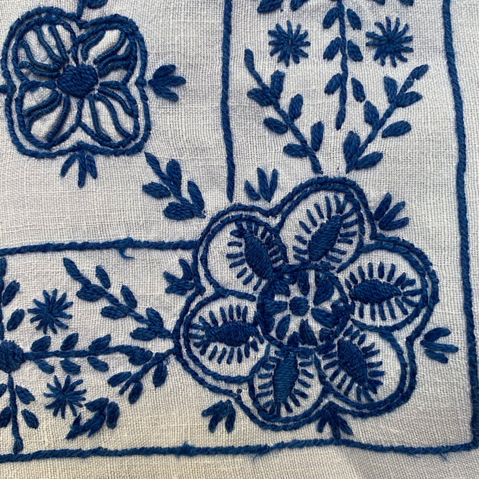 Vintage Traditional Portuguese Linen Embroidered Tablecloth