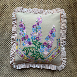 Hand Embroidered Velvet Frill Cushions