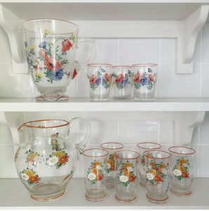Vintage Hand Painted Jug and 6 Tumbler Set