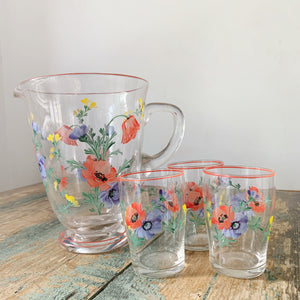 Vintage Hand Painted Jug and 3 Tumbler Set