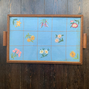 Vintage Tray With Embroidered Floral Vintage