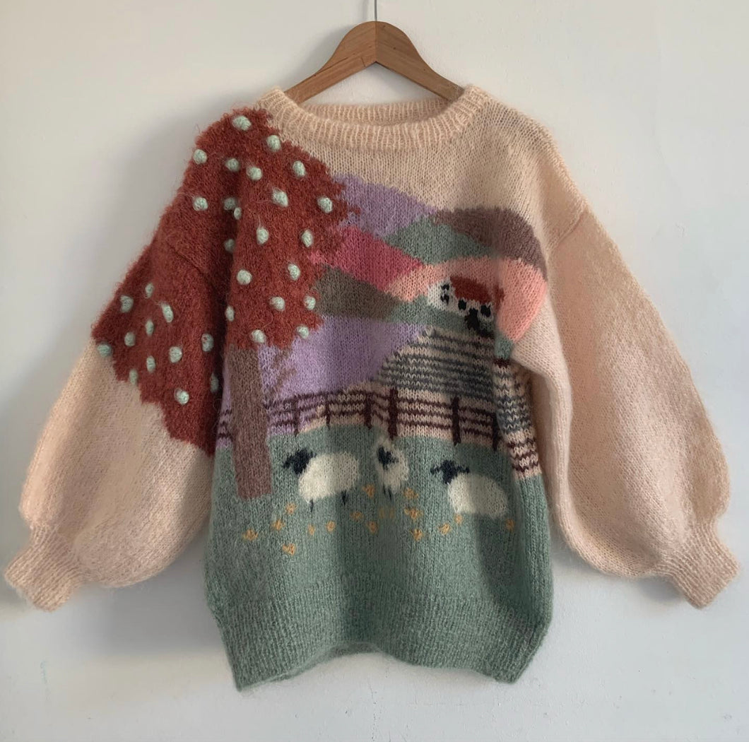 Vintage Hand Knit - Blush Farm Scene