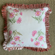 Hand Embroidered Pink Daisy Velvet Frill Cushion