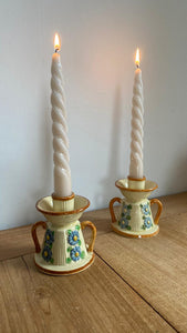 Pair of Japanese Glazed Ceramic Candlesticks