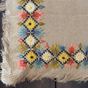 Hand Embroidered Fringe Cushion