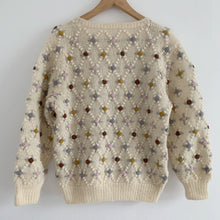Vintage fine knit cream flower Cardigan