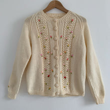 Vintage fine knit flower Cardigan