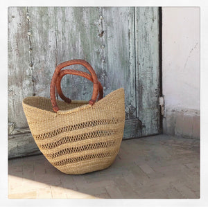 Natural Grass Lace Shopper - Small