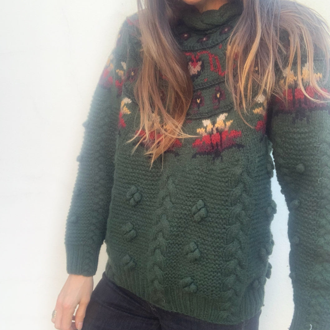 Vintage Hand Knit Fair Isle Jumper - Green