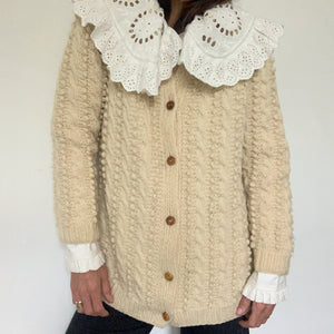 Vintage Aran Bobble Hand Knit Cardigan with Wooden Buttons