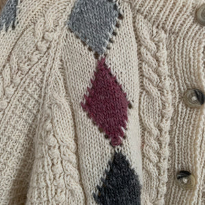 Vintage Aran Diamond Hand Knit Cardigan