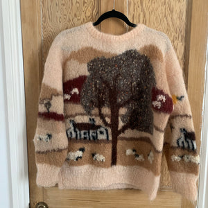 Vintage Sheep scene Hand Knit - Blush