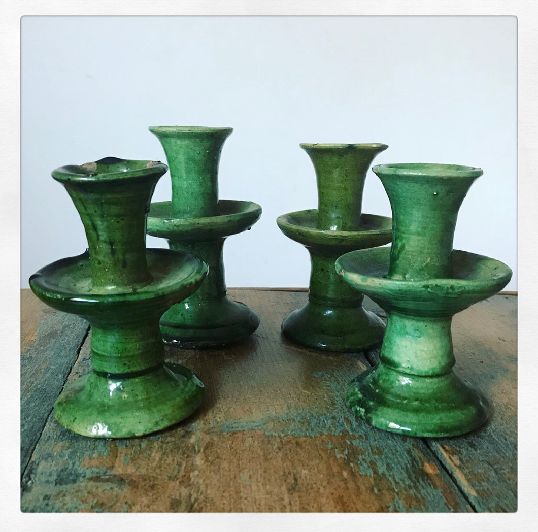 Tamegroute Glazed Ceramic Candlesticks