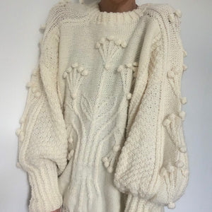 Vintage Aran Hand Knit Jumper With Balloon Sleeve