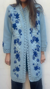 Vintage Hand Knit/ Hand Embroidered Cardigan